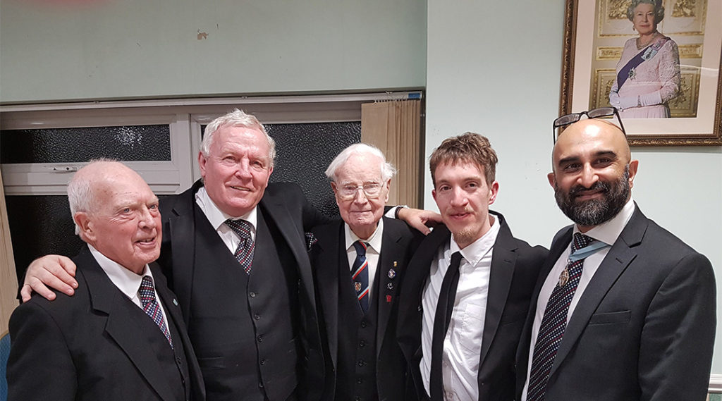 Members of Tring Lodge No 5001 with their latest Initiate, Bro Joshua Day