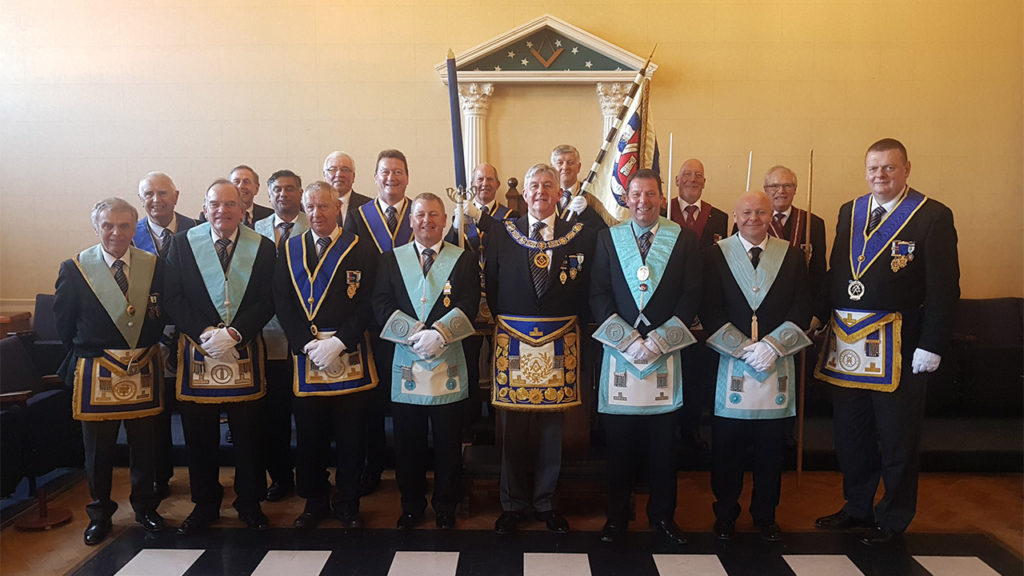Provincial Grand Master, Paul Gower with the new Worshipful Master and members of Cheshunt Lodge No 2921
