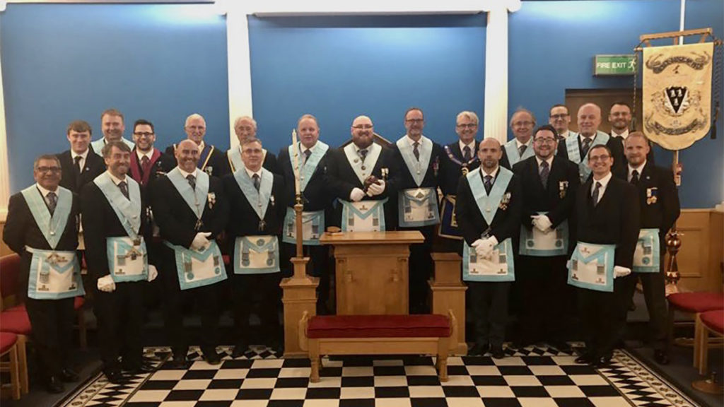 Newly Installed Worshipful Master of Halsey Lodge No 1478, W Bro Dan O'Connell and members of the Fleet House Light Blues Club