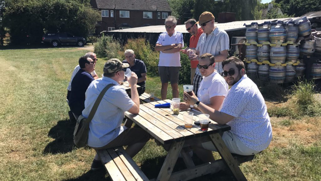 Members of the FHLBC enjoying the sunshine (and beer) at the last brewery tour in 2018