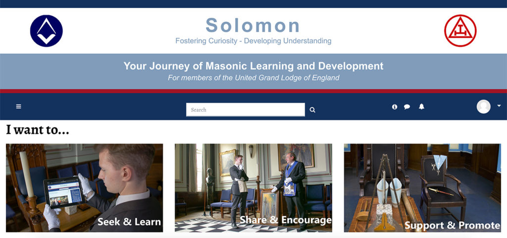 Solomon is an online resource from the United Grand Lodge of England that aims to help its members make a 'daily advancement' in their Masonic knowledge