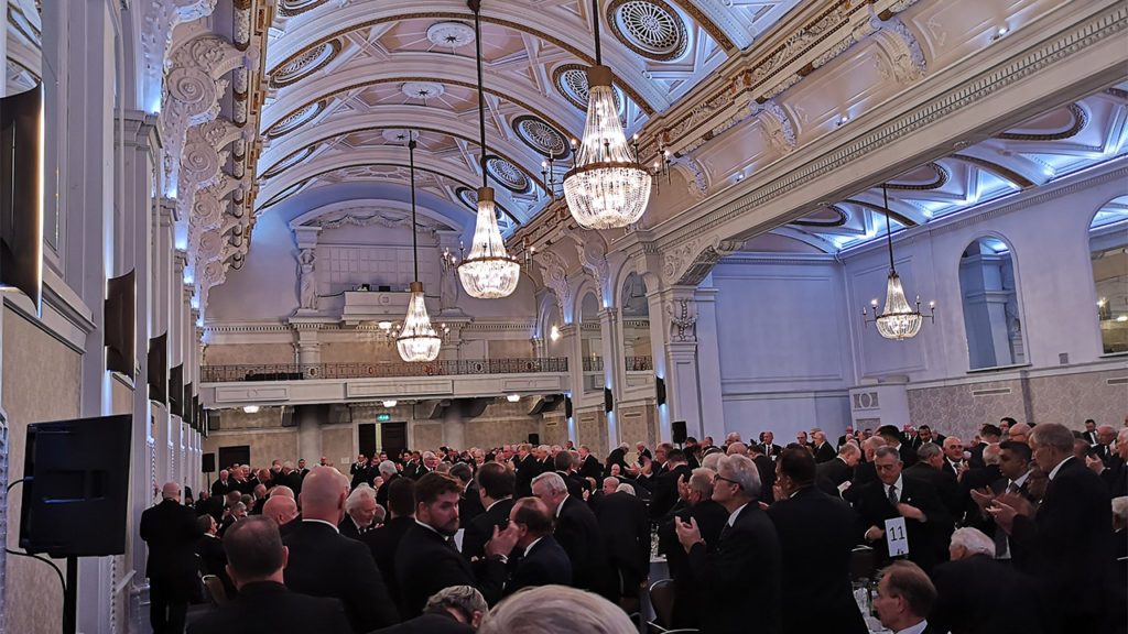 The Brethren at the Grand Connaught Rooms gave the Provincial Grand Master a standing ovation with heartfelt applause