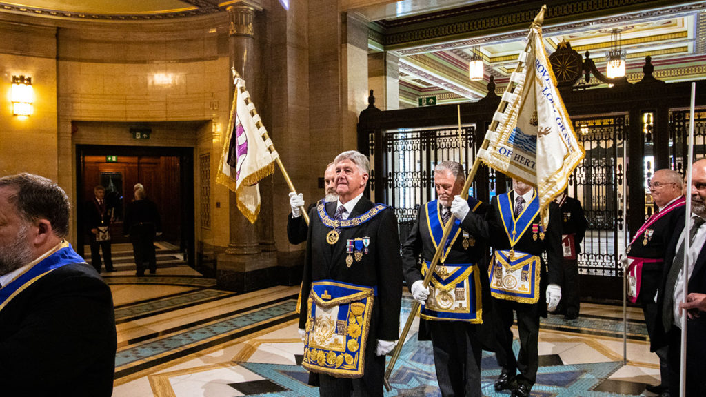 The Provincial Grand Master and his retinue prepare to enter the Grand Temple in procession