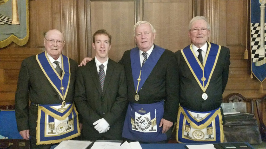 Provincial Grand Charity Steward, Chris Noble with new Fellowcraft, Joshua Day and recipients of Provincial Promotion; Guy Sergent and Frank Crowe