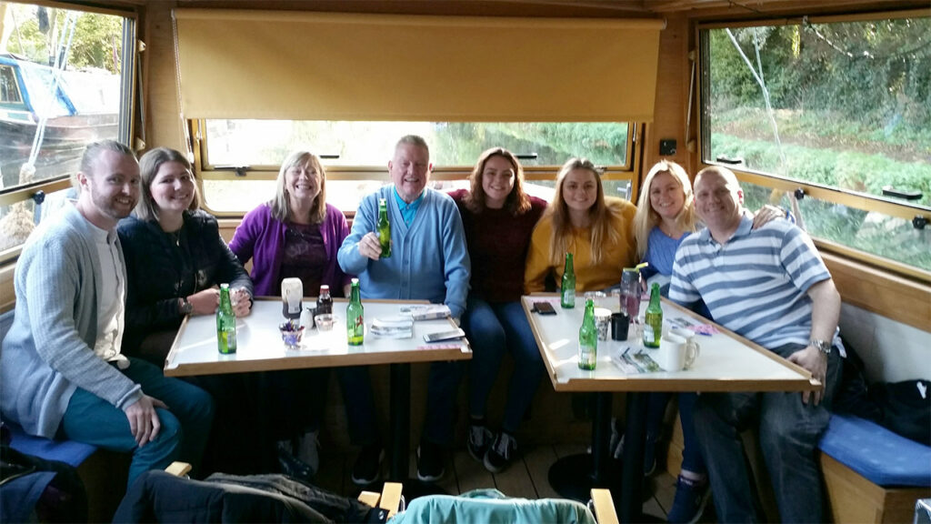 Members of Park Street Lodge and their guests enjoy a trip out on the canal