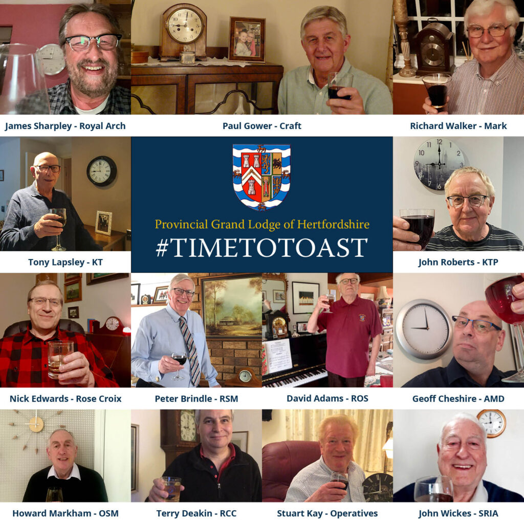 The Heads of Orders in the Province of Hertfordshire virtually raise a glass for absent brethren