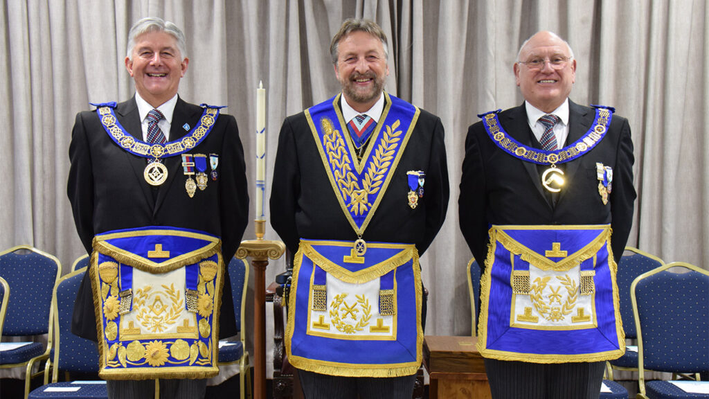 The Provincial Grand Master, Paul Gower, with the Most Excellent Grand Superintendent for Hertfordshire, James Sharpley, and the Deputy Provincial Grand Master, Dick Knifton